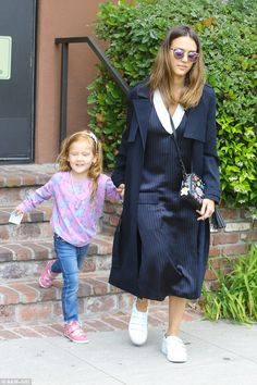 Play date: Jessica Alba took a break from her hectic schedule to spend some time with 4-year-old Haven on Wednesday in Santa Monica