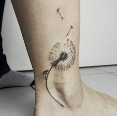 Dandelion Ankle Tattoo by Norako
