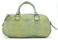 Snake 2 Corinne Handtasche Leder gelbgruen 40 cm
