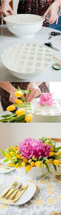 Clever idea to use wide bowls to create great floral arrangements!