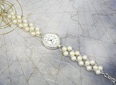 Beaded Bracelet Watch Cream Freshwater Pearl by mmojewelry