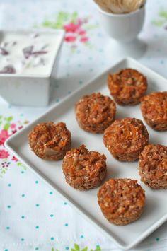 Vega-fasírt joghurtos mártogatóval - laktózmentes recept Cereal, Muffin, Breakfast, Ethnic Recipes, Food, Kitchen, Morning Coffee, Cooking, Eten