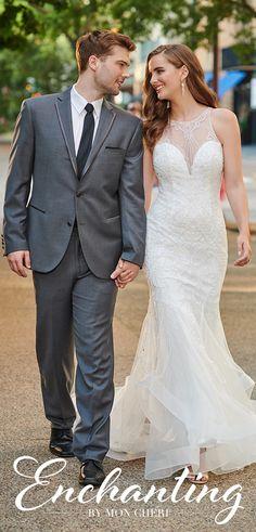 Enchanting by Mon Cheri 120165 Bridal Gowns, Wedding Dresses, Tulle Gown, Mermaid Skirt, A Line Gown, Illusion Neckline, Mon Cheri, Horse Hair, Pageant Dresses