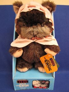 In 1983, Hasbro made plush Ewoks to tie in to the then-newly released Return of the Jedi. I remember wanting nothing more than a Cabbage Patch Kid for Christmas that year (background: In the 80s, CPKs were made to be a unisex toy as they had both girl and boy dolls [the precursor to My Buddy and Kid Sister]); but my dad refused me getting a CPK. He was afraid I would turn out funny (hint: GAY) and bought me one of these