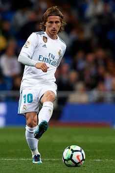 MADRID, SPAIN - MAY Luka Modric of Real Madrid in action during the La Liga match between Real Madrid and Celta de Vigo at Estadio Santiago Bernabeu on May 2018 in Madrid, Spain. (Photo by Quality Sport Images/Getty Images) Varane Real Madrid, Real Madrid Video, Messi And Ronaldo, Soccer Pictures, National Football Teams, Sports Images, Football Players, Athlete, Fifa