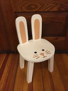 Handmade bunny rabbit toddler stool! Cute, classic, and functional-- the perfect addition to your childs Woodland or Forest theme nursery, party, or playroom. This listing is for one (1) bunny stool as pictured in the first photo, with dark purple-gray body, pale peach-pink ears,