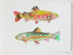 fish - snoog and wilde Watercolor Fish, Watercolor Animals, Watercolor Paintings, Watercolours, Kunst Poster, Cheap Art, Fish Crafts, Art Et Illustration, Fish Print