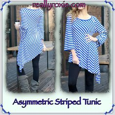 Asymmetric Striped Tunic!  reallyroxie.com