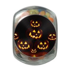 Happy Halloween-jack-o'-lanterns Glass Candy Jars - Happy Halloween with smiling pumpkins. Trick or Treat,Please give me something good to eat !