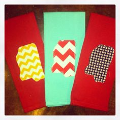 Mississippi State outline applique chevron kitchen hand towel on Etsy, $12.00