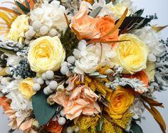 Wedding Bouquet Bridal Bouquet Mint Peach by CarolinaRosaDesigns