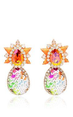 Galaxy Sequin Earrings In Orange by Shourouk | Moda Operandi