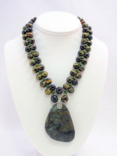 Tigereye and Jade Necklace with Turquoise Pendant by daksdesigns
