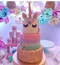 Pixel (unicorn birthday cakes one) Unicorn Birthday Parties, Birthday Ideas, 5th Birthday, Girl Birthday Cakes, 3 Tier Birthday Cake, 3 Tier Cake, Unicorn Baby Shower, Cute Cakes, Party Cakes