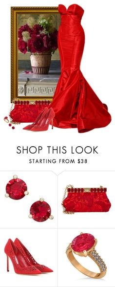 Red gown by fashionrushs on Polyvore featuring Jimmy Choo, Dolce&Gabbana, Allurez, Kate Spade and Zac Posen