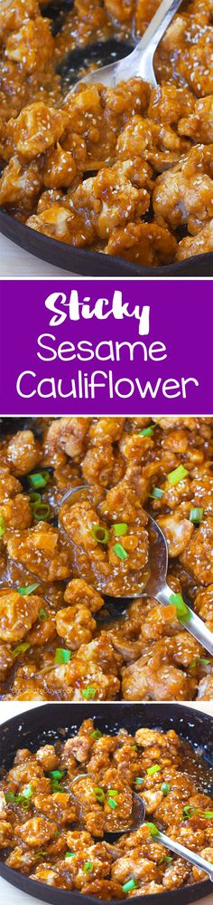 Sticky Sesame Cauliflower, SO Addictive!