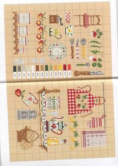 Cuisine, kitchen motifs, borders and alphabets free Cross Stitch Numbers, Just Cross Stitch, Cross Stitch Art, Cross Stitch Boards, Modern Cross Stitch, Cross Stitch Designs, Cross Stitching, Cross Stitch Embroidery, Cross Stitch Patterns