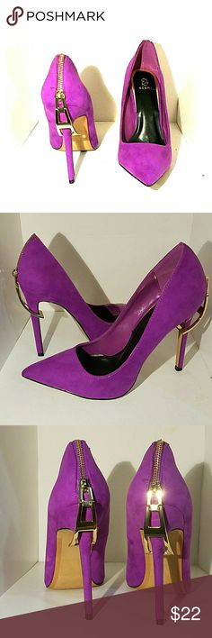 "Purple  ""Scene"" Heels Really cute, chic purple suede heels with cool zipper accent on heel by Scene from shoe dazzle. Never worn, they didn't fit me. I'm generally a size 7 and these got on my foot but were too tight. I'd recommend  a 6.5 or small 7 wear it. They are really cute and make your legs look killer!!! Shoe Dazzle Shoes Heels"