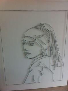 Het meisje met de parel - gemaakt met spijkers en touw
