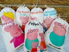 Peppa Pig Favor Bags Birthday Party or School by CharleysCache