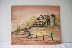 Vintage Oil Painting Landscape Barn  Peach Brown by TheeLetterQ