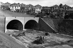 These wonderful pictures show then modern semi-detached homes being shored up above the Brynglas tunnel in 1966 and the last pieces of the first Severn Bridge being lifted into place Old Pictures, Old Photos, Severn Bridge, Newport Bridge, Commercial Street, Wonderful Picture, South Wales, Aerial View, Picture Show