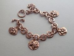 Copper charm  bracelet  handmade  copper  by copperryfields, $60.00