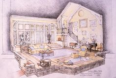 Hay Fever. Sketch. Intiman Theatre. Scenic design by Robert A. Dahlstrom.