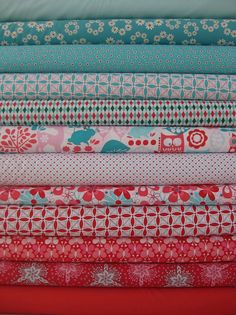 red and turquoise quilting fabrics  #quilting
