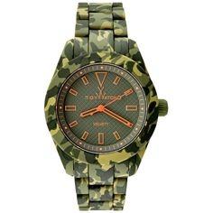 Toywatch Hunter Green Camouflage Watch ($225) ❤ liked on Polyvore featuring men's fashion, men's jewelry, men's watches, green camo, mens diamond bezel watches and men's blue dial watches