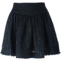 Simone Rocha tweed mini skirt featuring polyvore, women's fashion, clothing, skirts, mini skirts, black, short skirts, tweed mini skirt, simone rocha, simone rocha skirt and short mini skirts