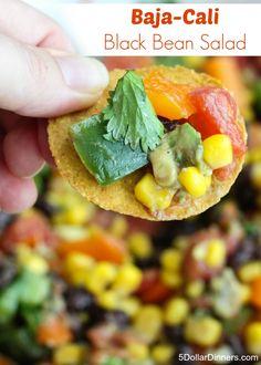 Baja Cali Black Bean Salad ~ a delicious and healthy summer recipe | 5DollarDinners.com