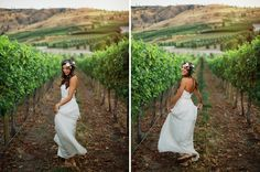 Twirling happy bridal portraits in a wine vineyard in a Sarah Seven lace wedding dress. Photos ©RyanFlynnPhotography. www.ryanflynnphotography.net
