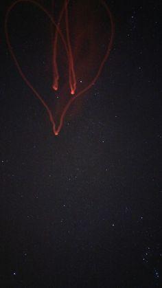 heart on night sky