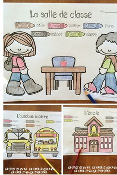 French Write the Room: l'école! Perfect for back to school, this set is filled with great French vocabulary activities including these colour by word pictures! #backtoschool#school#French#Français