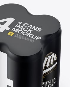 4 Cans in Matte Shrink Wrap Mockup - Half Side View (High Angle Shot)