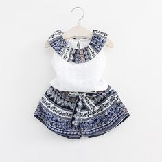 2017 Newest Kids Girl Summer Clothes Set Country Style Ruffle Neck Top Shorts Clothes Set Baby Girl Clothing Set