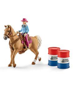 Another great find on #zulily! Schleich Cowgirl Barrel Racing Figurine Set by Schleich #zulilyfinds