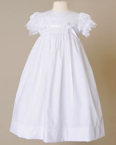 Dainty floral venise lace and pristine satin ribbon adorn this simply pretty day-length cotton gown. set includes baptism gown and bonnet Color: white Fabric: cotton broadcl… Lace Christening Gowns, Baptism Gown, Baby Girl Dresses, Baby Dress, Flower Girl Dresses, Baby Girls, Blessing Dress, Cotton Gowns, Heirloom Sewing