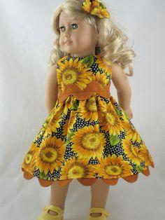 Sunflower doll dress and hair bow.