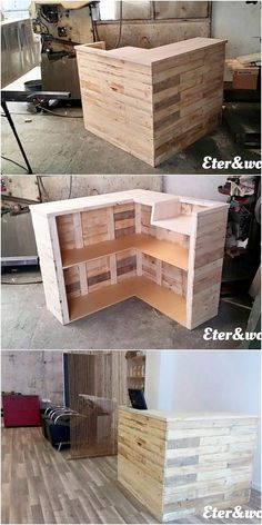 Simple and yet creative counter table has been part of this image where wood pallet is included over the complete of its finishing blends. The inside corner of the counter table is featuring out the access of shelves in it that are looking so incredible for your household use.