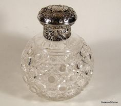 Antique Victorian 1888 Sterling Silver Cut Glass Cologne Perfume Bottle Comyns | eBay