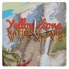 Yellowstone vintage poster wallclock