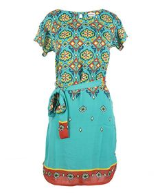 Love this Teal Ikat Short-Sleeve Dress by Hatley on #zulily! #zulilyfinds