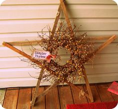 Tobacco Stick Star-With Prim Wreath~I can do this w/my grandparents old tobacco sticks! Ruler Crafts, Craft Stick Crafts, Fall Crafts, Craft Gifts, Decor Crafts, Crafts To Make, Diy Crafts, Adult Crafts, Christmas Wood
