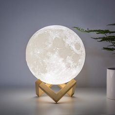 Decorative Moon Light Lamp with Time Setting and Stand 3D Print LED 16 Colors - 7 inch