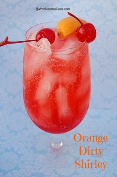 Orange Dirty Shirley~ 1 ounces of Orange Vodka, 1 ounces of grenadine (or cherry juice), Sprite. Orange Slice and Cherry for Garnish (watermelon vodka drinks tipsy bartender) Party Drinks, Cocktail Drinks, Fun Drinks, Yummy Drinks, Cocktail Recipes, Orange Vodka, Orange Juice Cocktails, Fruity Cocktails, Orange Drinks