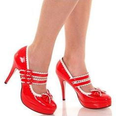 Red Patent High Heel Double Strap Mary Jane Shoes sz 6 ...