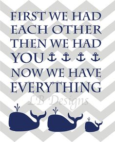 Navy Blue and Gray Chevron Whale and Anchor Nursery by LJBrodock, $10.00