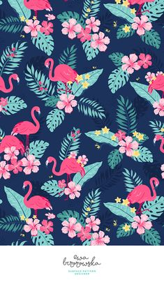 Colorful fabrics digitally printed by Spoonflower - Tropical Flamingos - Navy Add a pop of pattern with unique fabric, wallpaper & gift wrap. Flamingo Wallpaper, Flamingo Art, Flamingo Pattern, Summer Wallpaper, Tropical Pattern, New Wallpaper, Flower Wallpaper, Pattern Wallpaper, Wallpaper Backgrounds